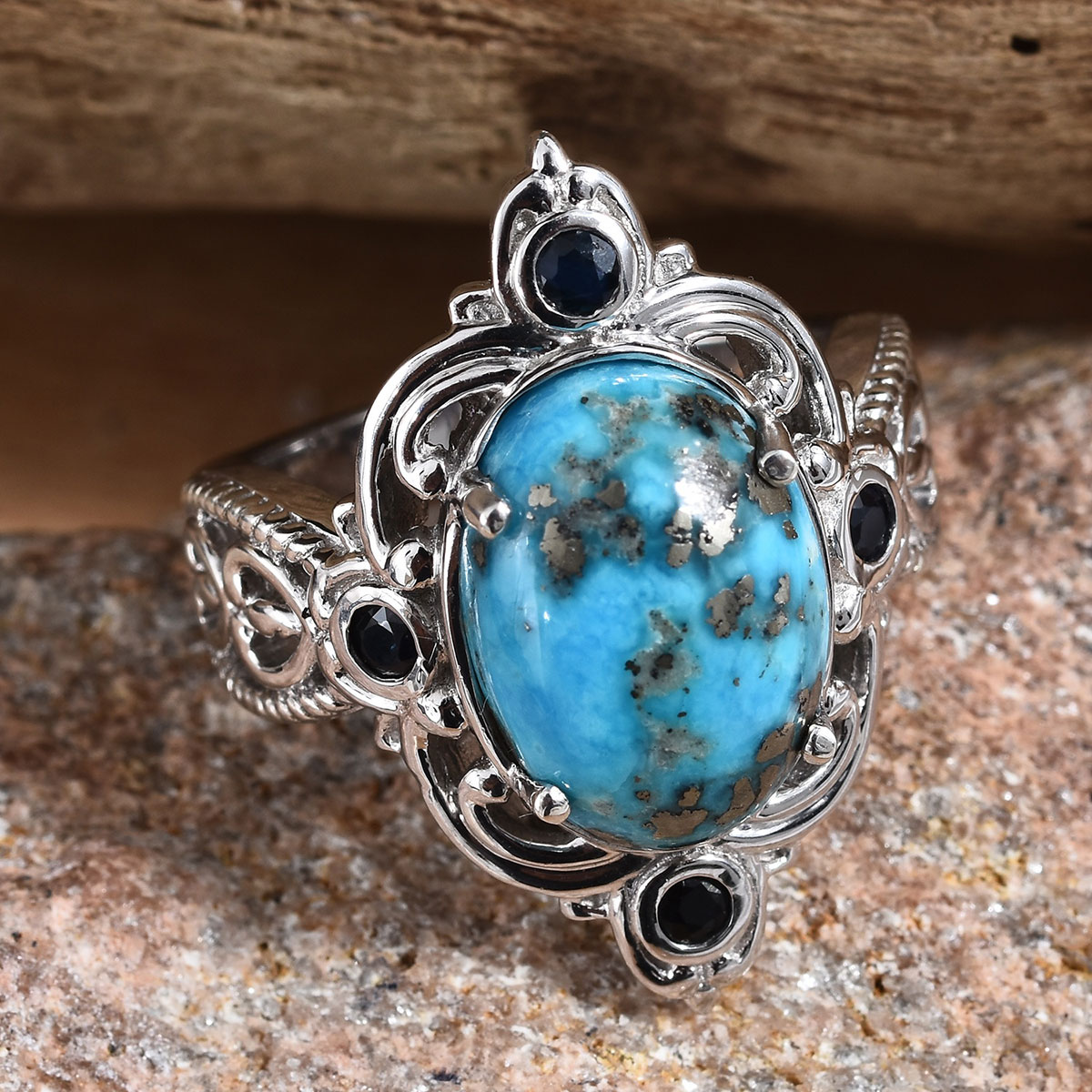 Persian Turquoise, Kanchanaburi Blue Sapphire Ring in Platinum Over Sterling Silver (Size 8.0) 6.21 ctw