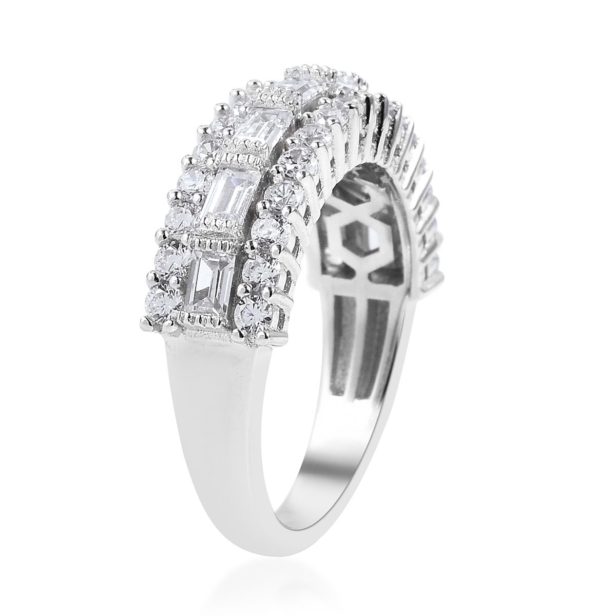 LUSTRO STELLA CZ Ring in Sterling Silver (Size 11.0) 2.48 ctw