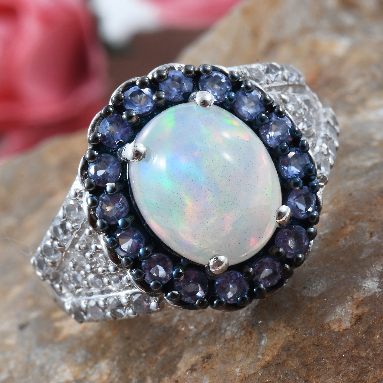 Ethiopian Welo Opal, Multi Gemstone Ring in Black Rhodium & Platinum Over Sterling Silver (Size 9.0) 3.74 ctw
