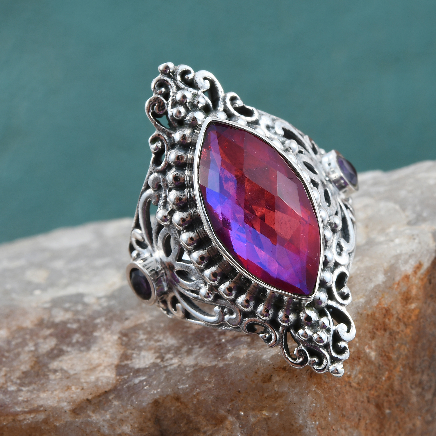 Artisan Crafted Volcanic Quartz, Amethyst Ring in Sterling Silver (Size 5.0) 5.05 ctw