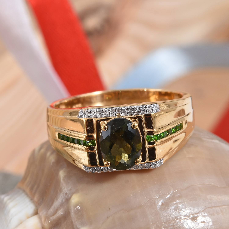 Bohemian Moldavite, Multi Gemstone Men's Ring in Vermeil YG Over Sterling  Silver (Size 11 0) 1 85 ctw