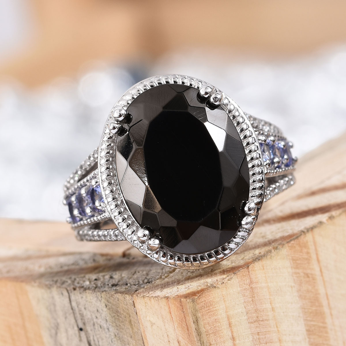 Shungite, Multi Gemstone Ring in Platinum Over Sterling Silver (Size 7.0) 6.04 ctw