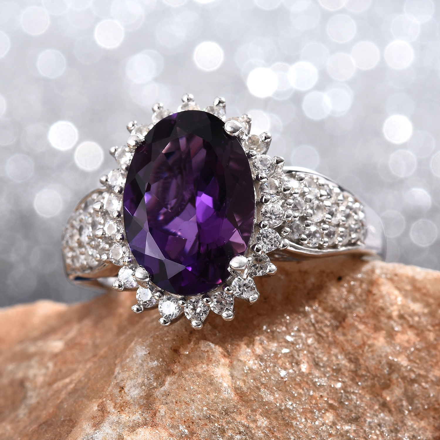 EPIC DAY Mashamba Amethyst, Cambodian Zircon Ring in Platinum Over Sterling Silver (Size 11.0) 6.75 ctw