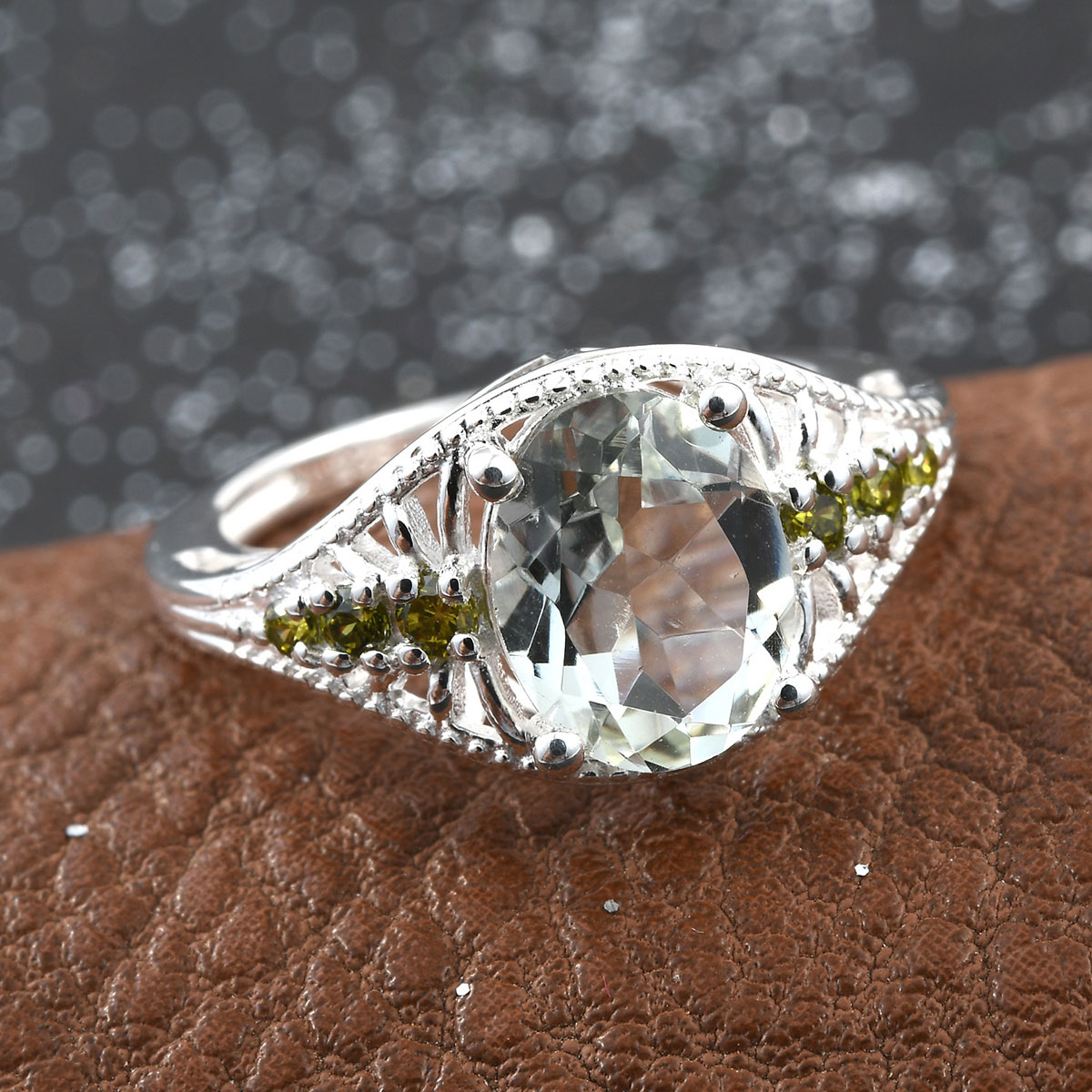 Green Amethyst, Peridot CZ Ring in Sterling Silver (Size 5.0) 1.92 ctw