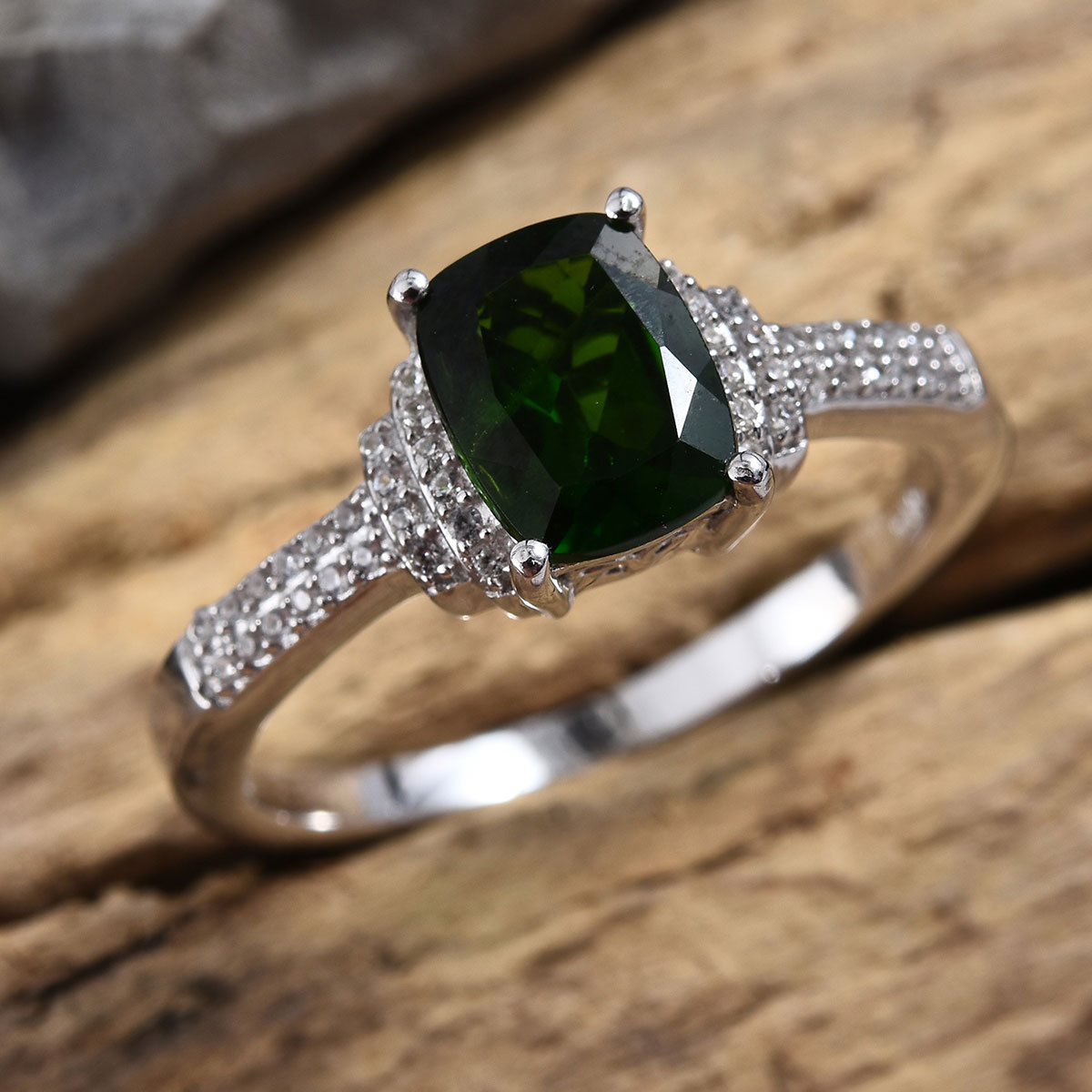 Russian Diopside, Cambodian Zircon Ring in Platinum Over Sterling Silver (Size 6.0) 2.55 ctw