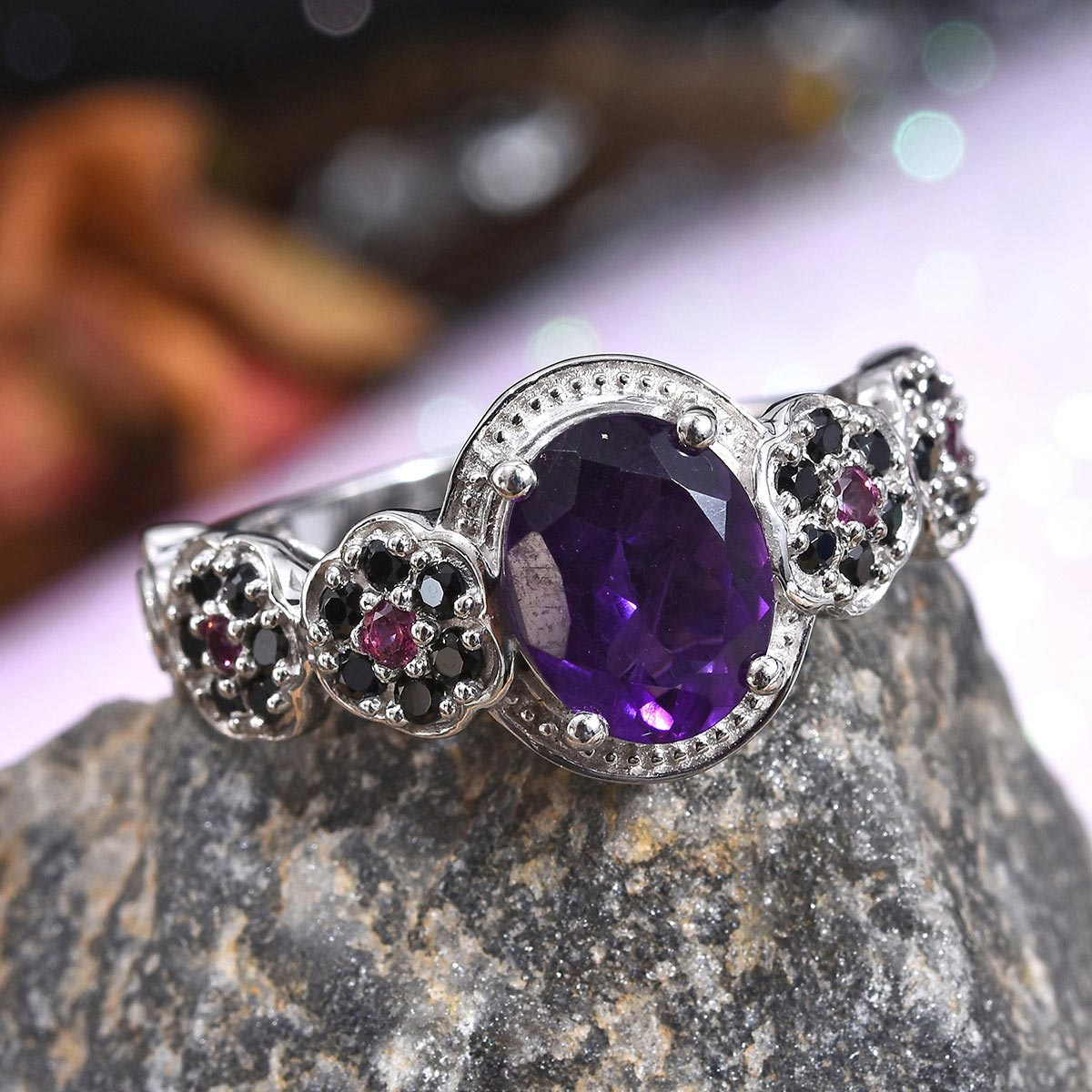 Lusaka Amethyst, Multi Gemstone Floral Ring in Platinum Over Sterling Silver (Size 8.0) 3.30 ctw