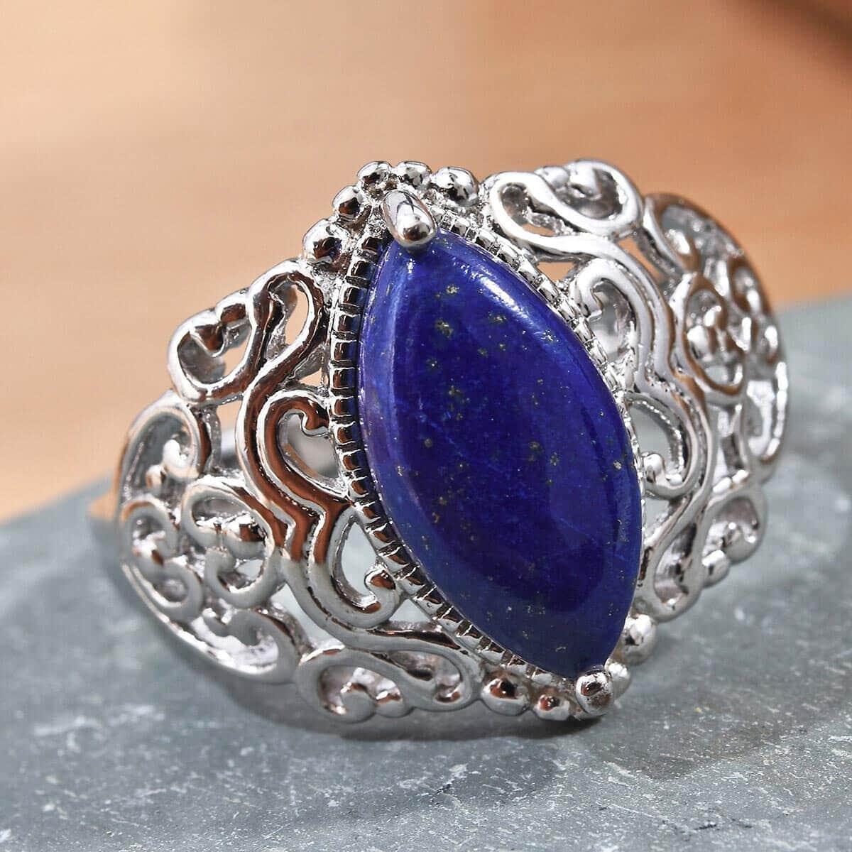 KARIS Lapis Lazuli Ring in Platinum Bond Brass (Size 11.0) 6.00 ctw