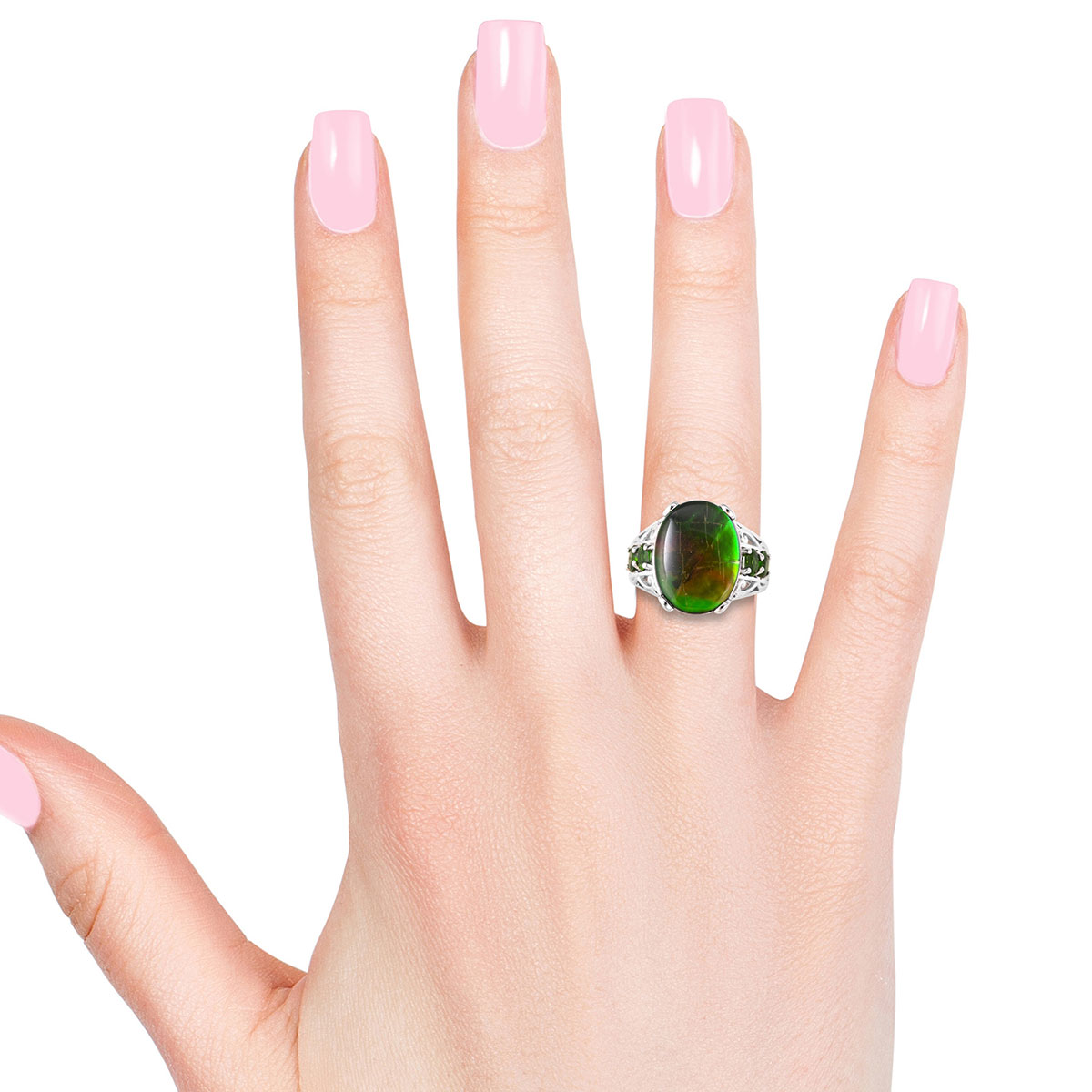 Canadian Ammolite, Russian Diopside Ring in Sterling Silver (Size 7.0) 0.84 ctw