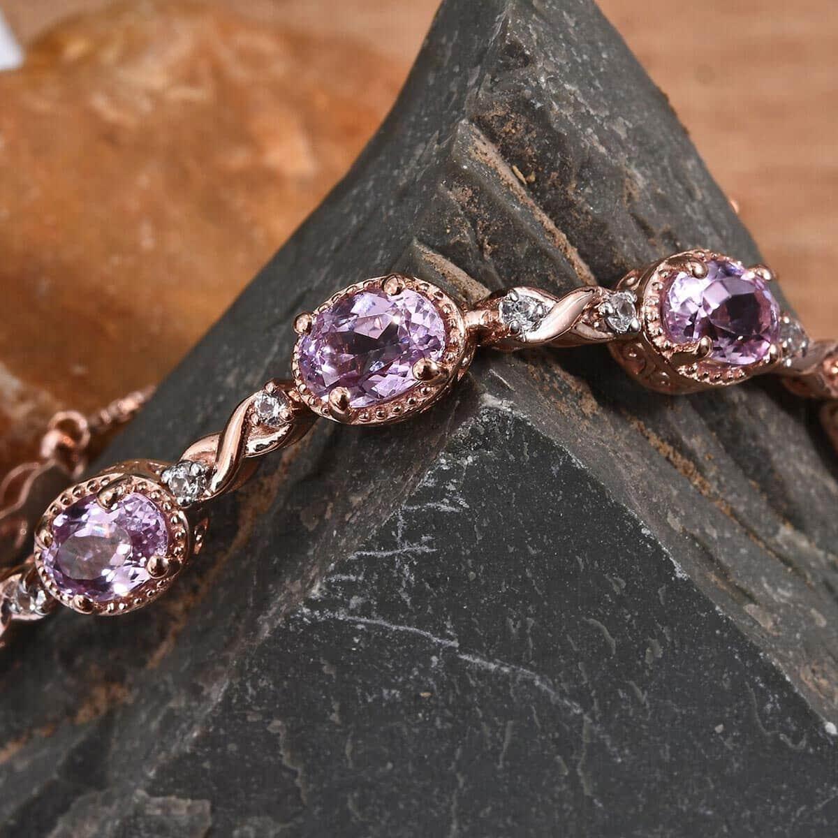 AA Premium Martha Rocha Kunzite, Zircon Bolo Bracelet in Vermeil RG Over Sterling Silver 5.71 ctw