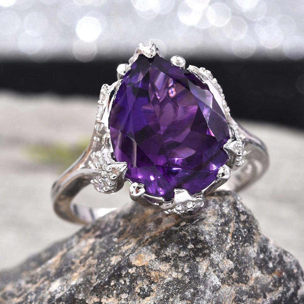 Lusaka Amethyst, Zircon Ring in Platinum Over Sterling Silver (Size 6.0) 8.90 ctw