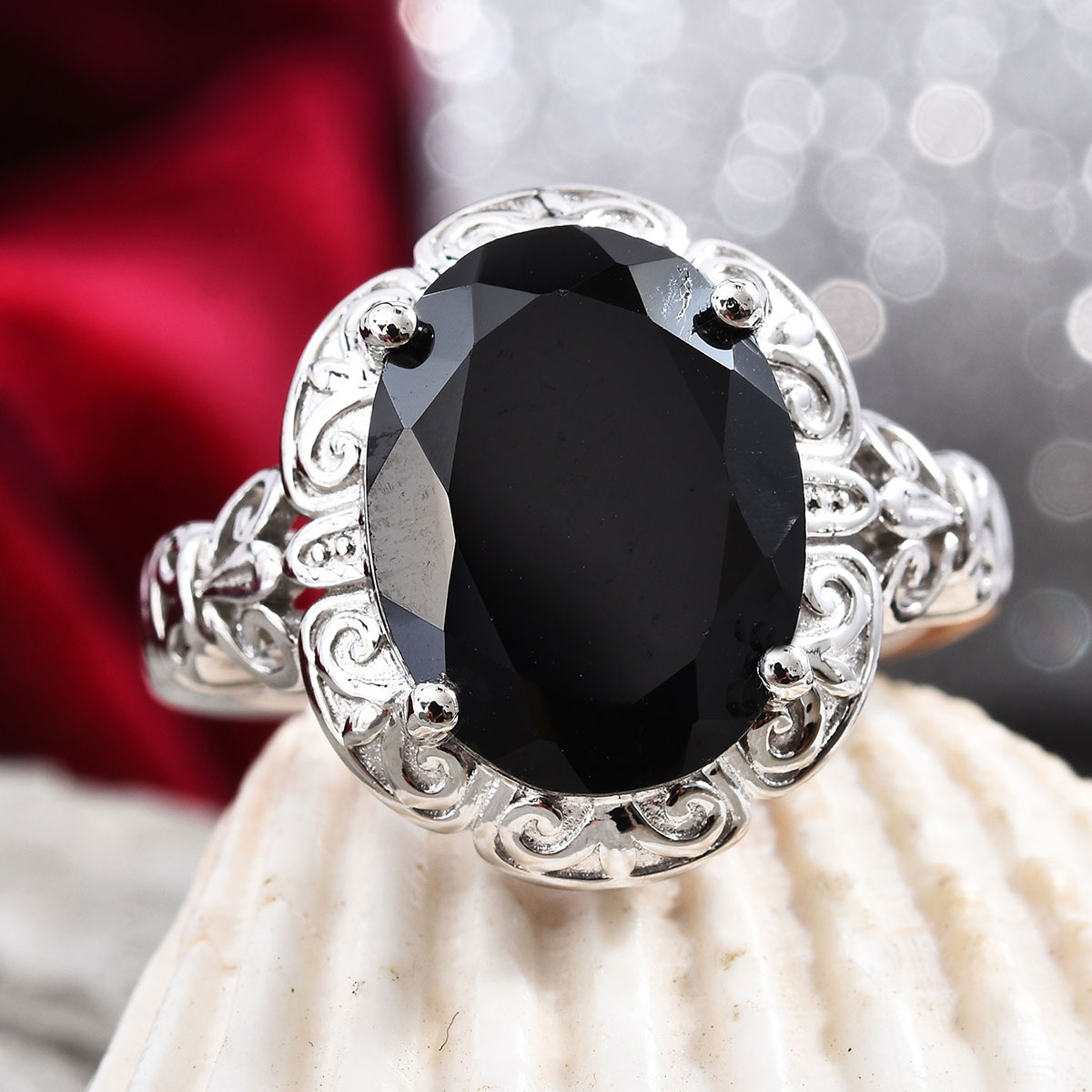 Shop LC Delivering Joy Stainless Steel Oval Black Spinel Statement Ring for Women Jewelry Gift Size 8 Cttw 2.7