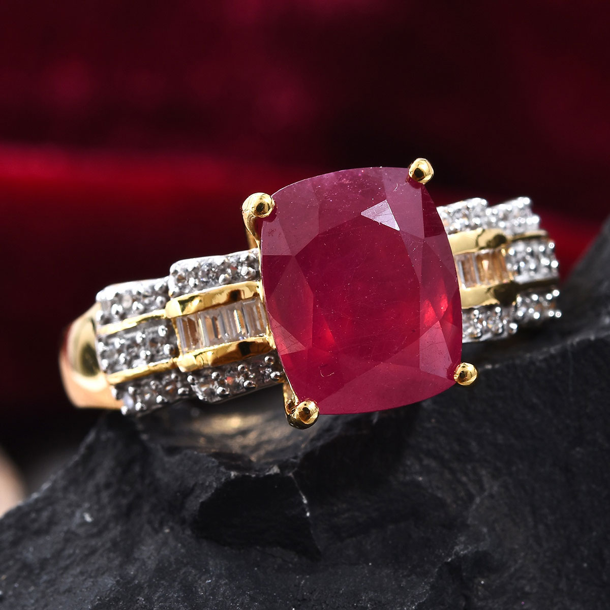 Niassa Ruby, Zircon Ring in Vermeil YG Over Sterling Silver (Size 9.0) 6.97 ctw