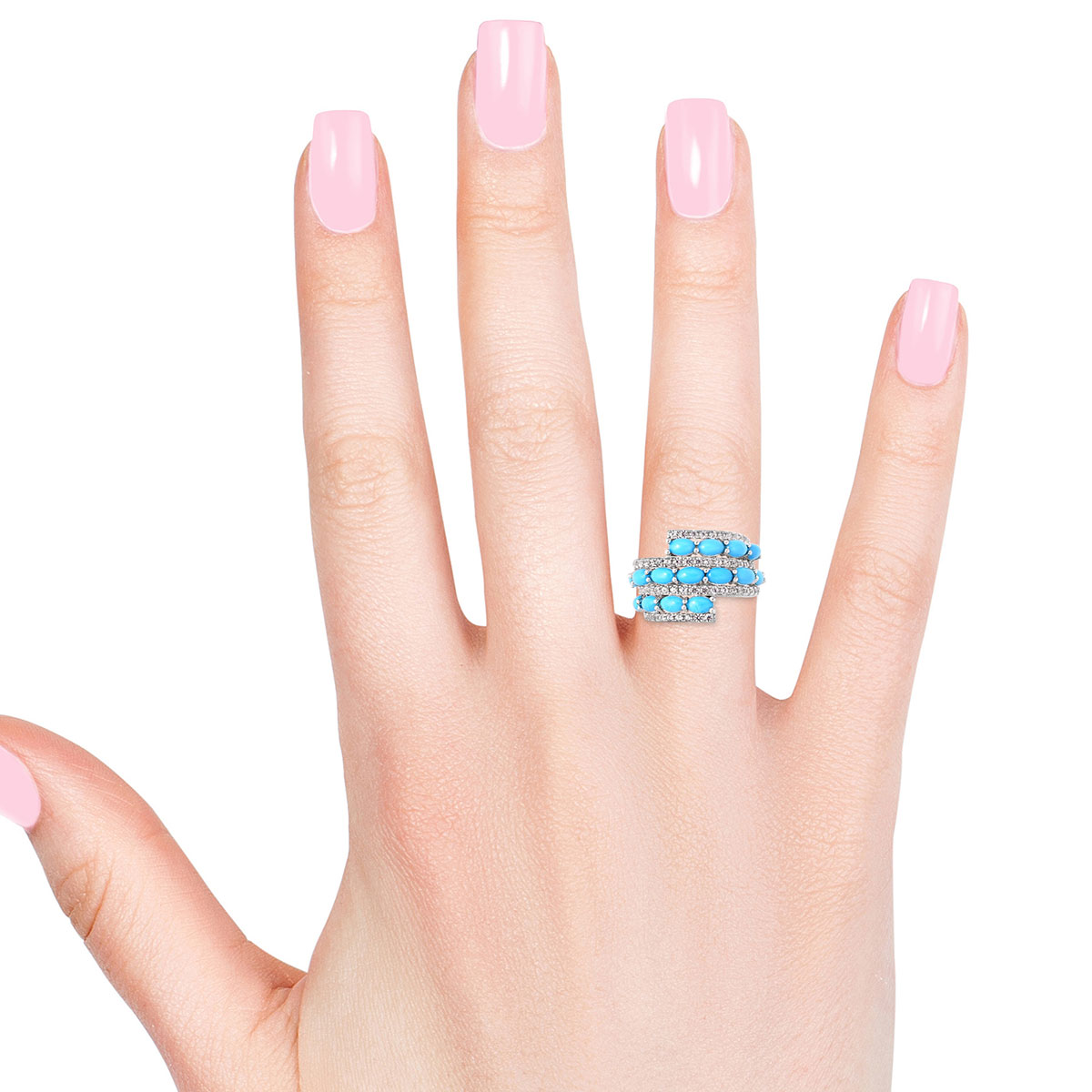 Arizona Sleeping Beauty Turquoise, White Zircon Bypass Ring in Sterling Silver (Size 6.0) 4.20 ctw