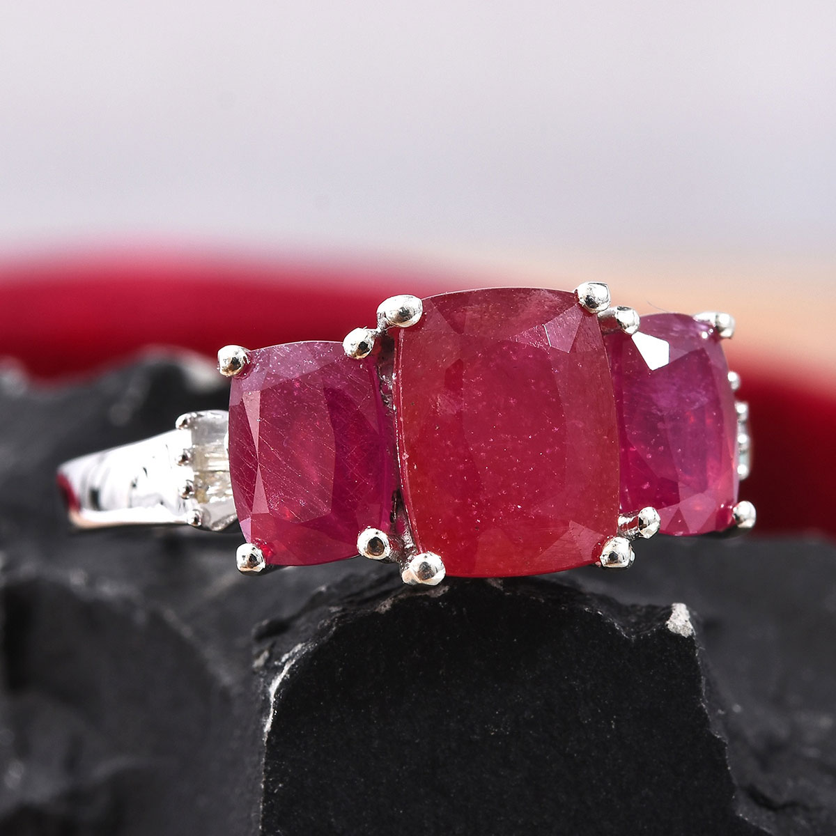 Niassa Ruby, Diamond (0.07 ct) Ring in Platinum Over Sterling Silver (Size 10.0) 7.22 ctw