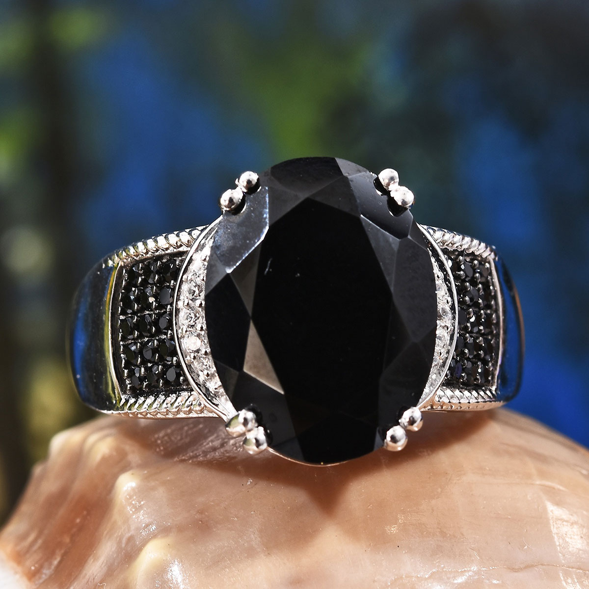 Thai Black Spinel, Zircon Ring in Platinum Over Sterling Silver (Size 8.0) 10.50 ctw
