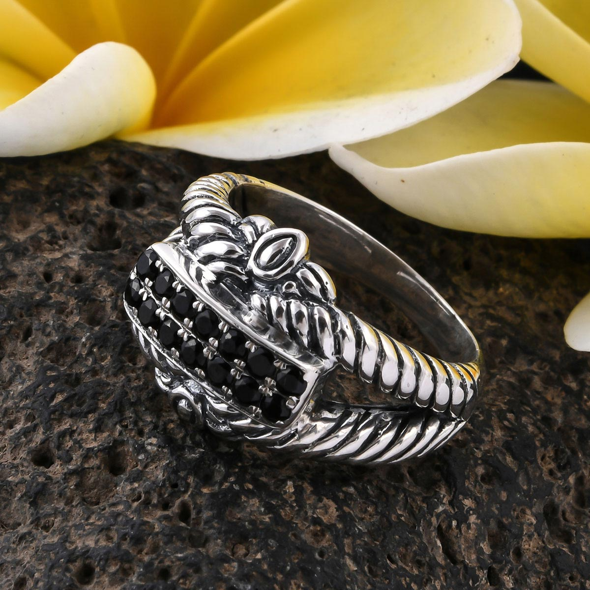 BALI LEGACY Thai Black Spinel Ring in Sterling Silver (Size 9.0) 0.60 ctw