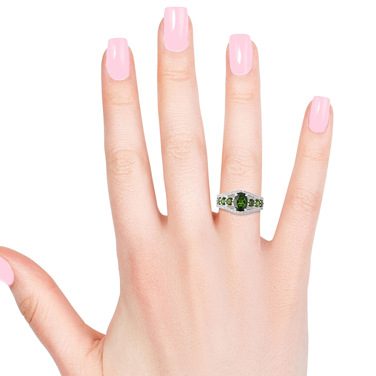 Russian Diopside, White Zircon Ring in Sterling Silver (Size 6.0) 3.01 ctw