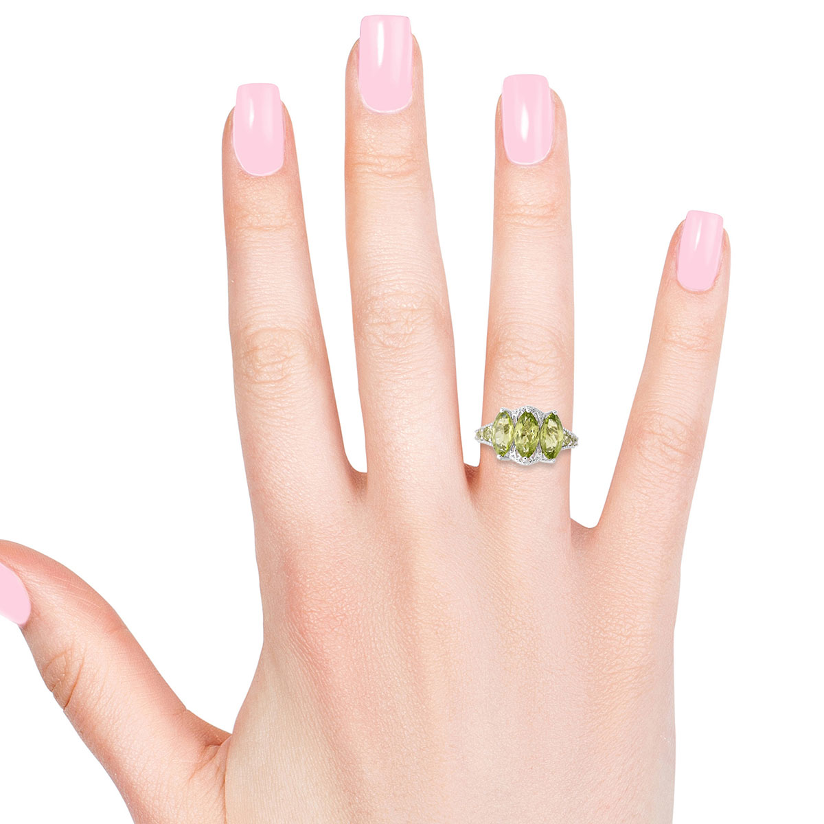Hebei Peridot Ring in Sterling Silver (Size 6.0) 3.94 ctw