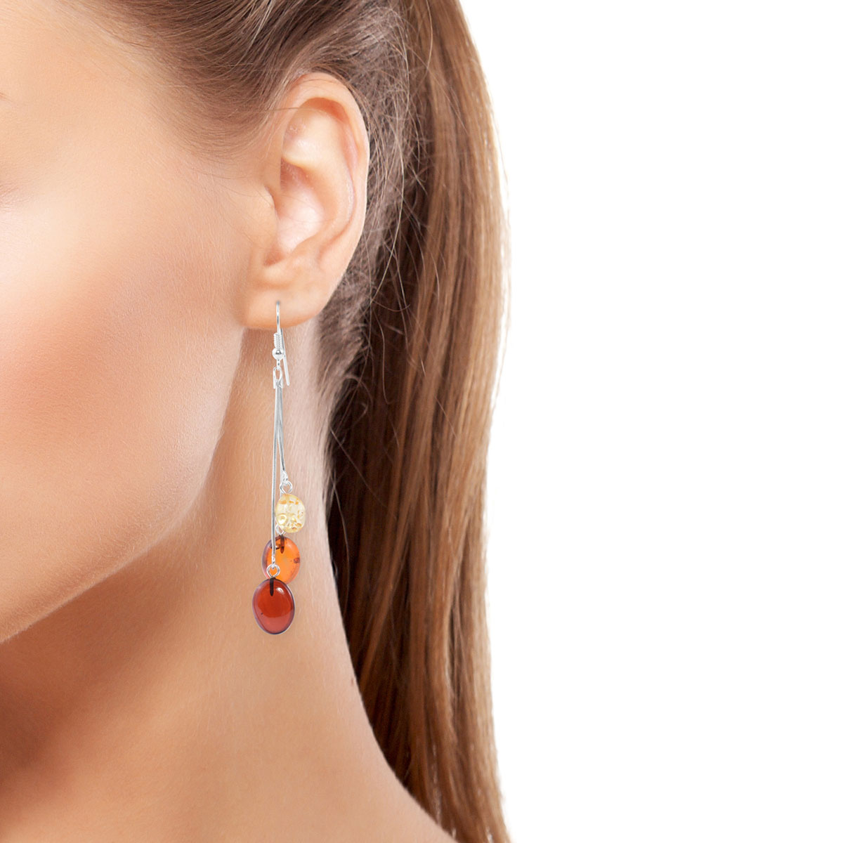 Artisan Crafted Multi Color Amber Dangle Earrings in Sterling Silver