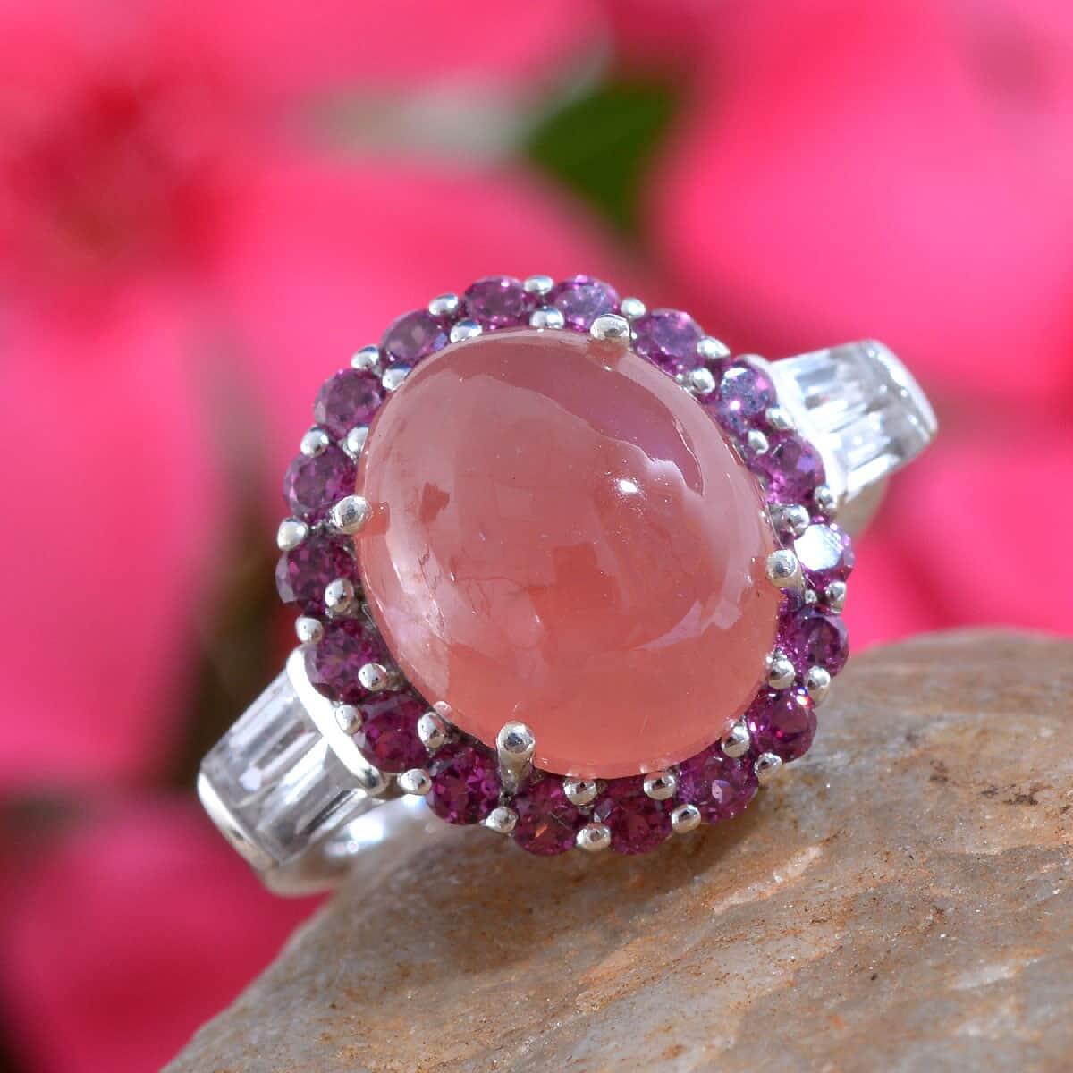 Peruvian Honey Rhodochrosite, Multi Gemstone Ring in Platinum Over Sterling Silver (Size 7.0) 7.25 ctw