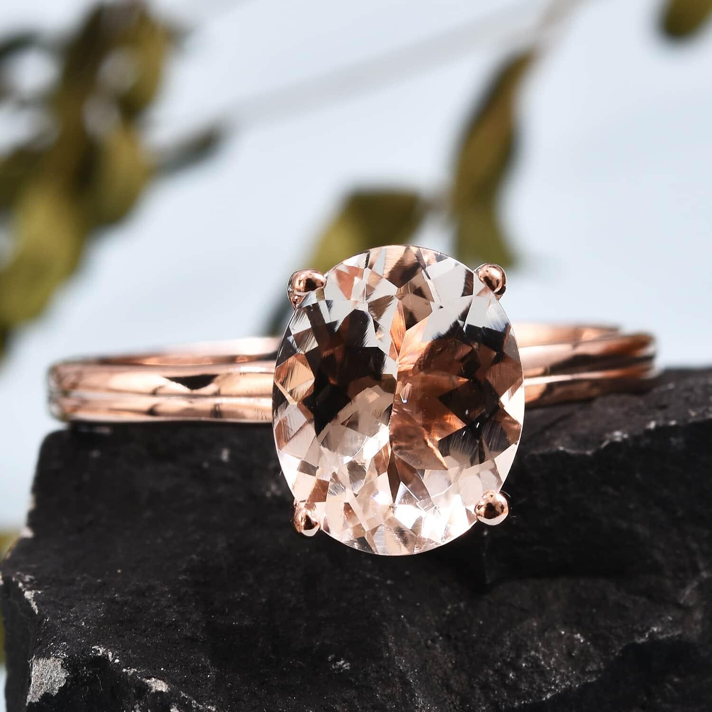 AA Premium Marropino Morganite Ring in Vermeil RG Over Sterling Silver (Size 5.0) 3.15 ctw