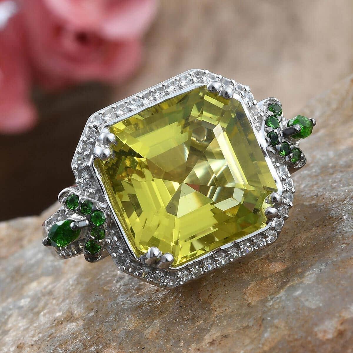 Asscher Cut Ouro Verde Quartz, Multi Gemstone Ring in Platinum Over Sterling Silver (Size 8.0) 11.20 ctw