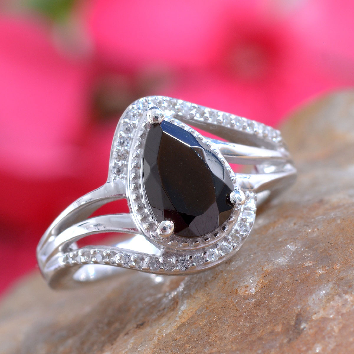 Shungite, Zircon Ring in Platinum Over Sterling Silver (Size 9.0) 0.93 ctw