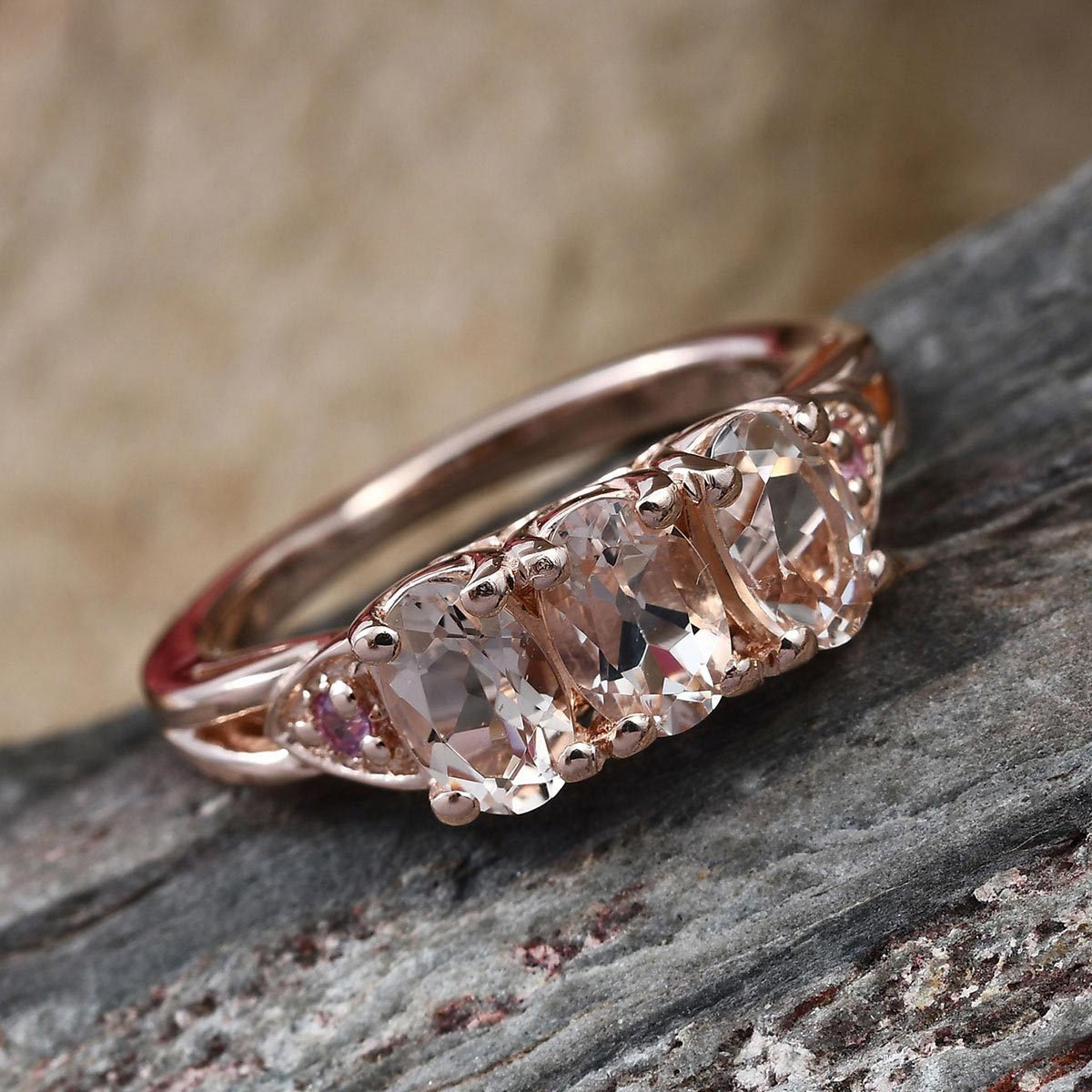 AA Premium Marropino Morganite, Madagascar Pink Sapphire Ring in Vermeil RG Over Sterling Silver (Size 9.0) 1.30 ctw