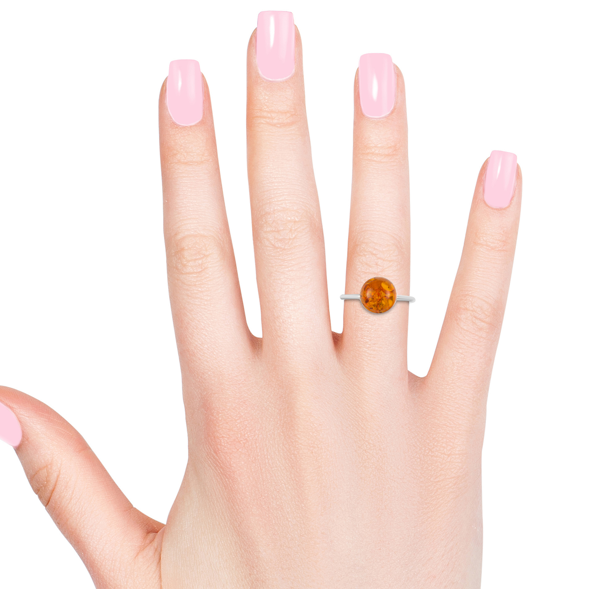 Artisan Crafted Baltic Amber Ring in Sterling Silver (Size 8.0)