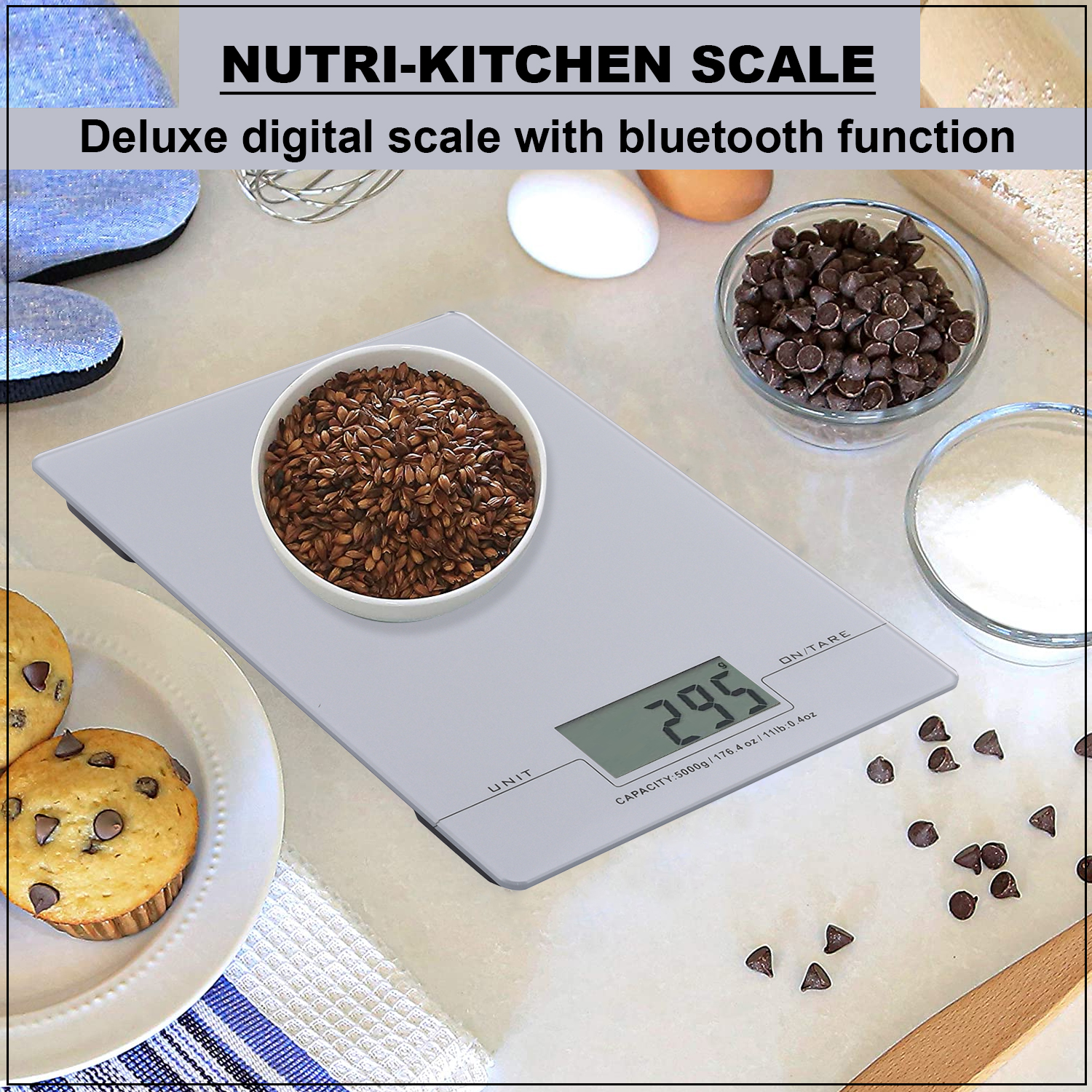 Silver Silk Screen Kitchen Scale 3mm Glass Platform with Bluetooth Function