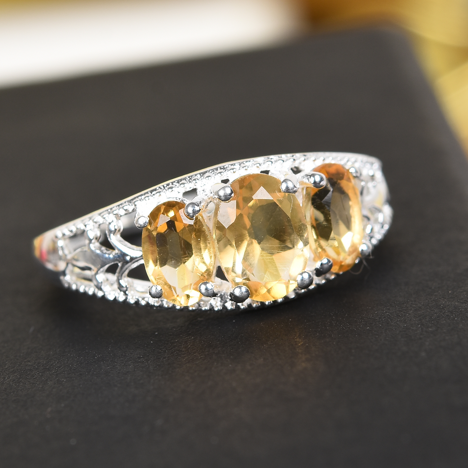 925 Sterling Silver Citrine Statement Ring Jewelry Gift for Women Size 8 Ct 1.6