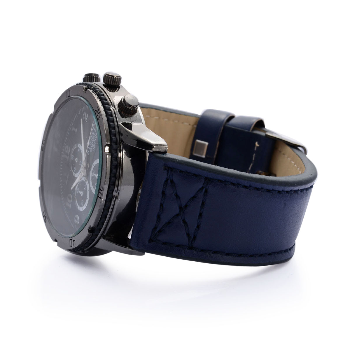 STRADA Japanese Movement Watch with Blue Band and Stainless Steel Back