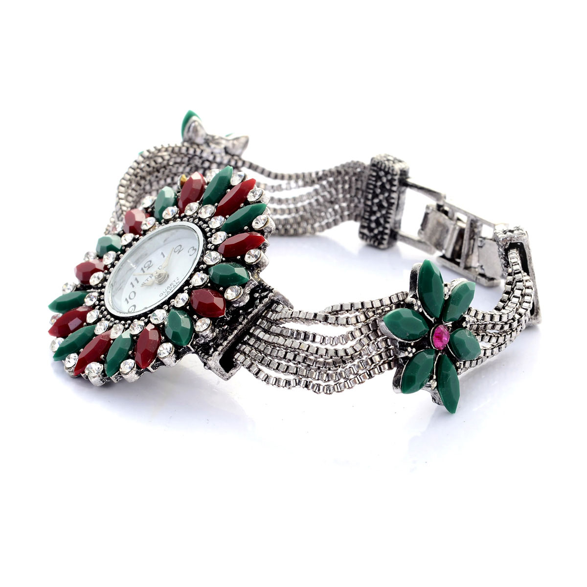 STRADA Austrian Crystal, Red and Green Chroma Japanese Movement Bracelet Watch in Silvertone with Stainless Steel Back