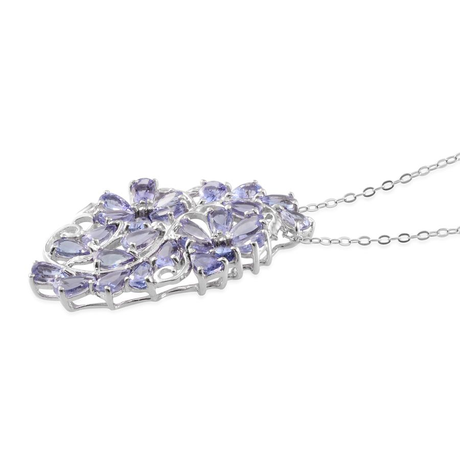 Tanzanite (Pear), Diamond Floral Pendant With Chain (20 in) in Platinum Overlay Sterling Silver Nickel Free TDiaWt 0.020Cts., TGW 5.42 Cts.