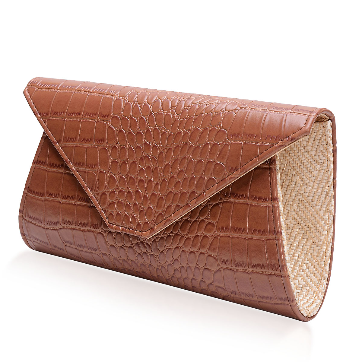 J Francis - Brown Crocodile Embossed Faux Leather Clutch (11x6 in)