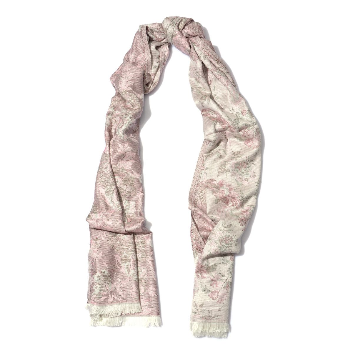 J Francis - White with Pink Flower Motif 100% Viscose Scarf (71x28 in)