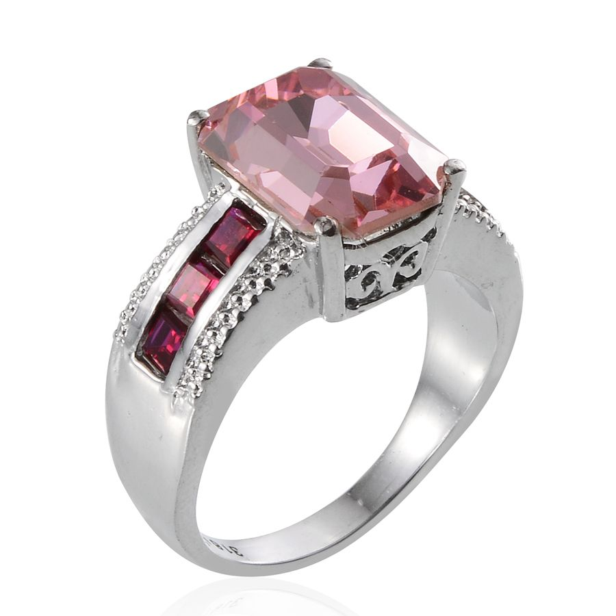 J Francis - Lab Created Ruby Ring in Stainless Steel (Size 7) Made with  SWAROVSKI Pink Crystal TGW 7 500 cts