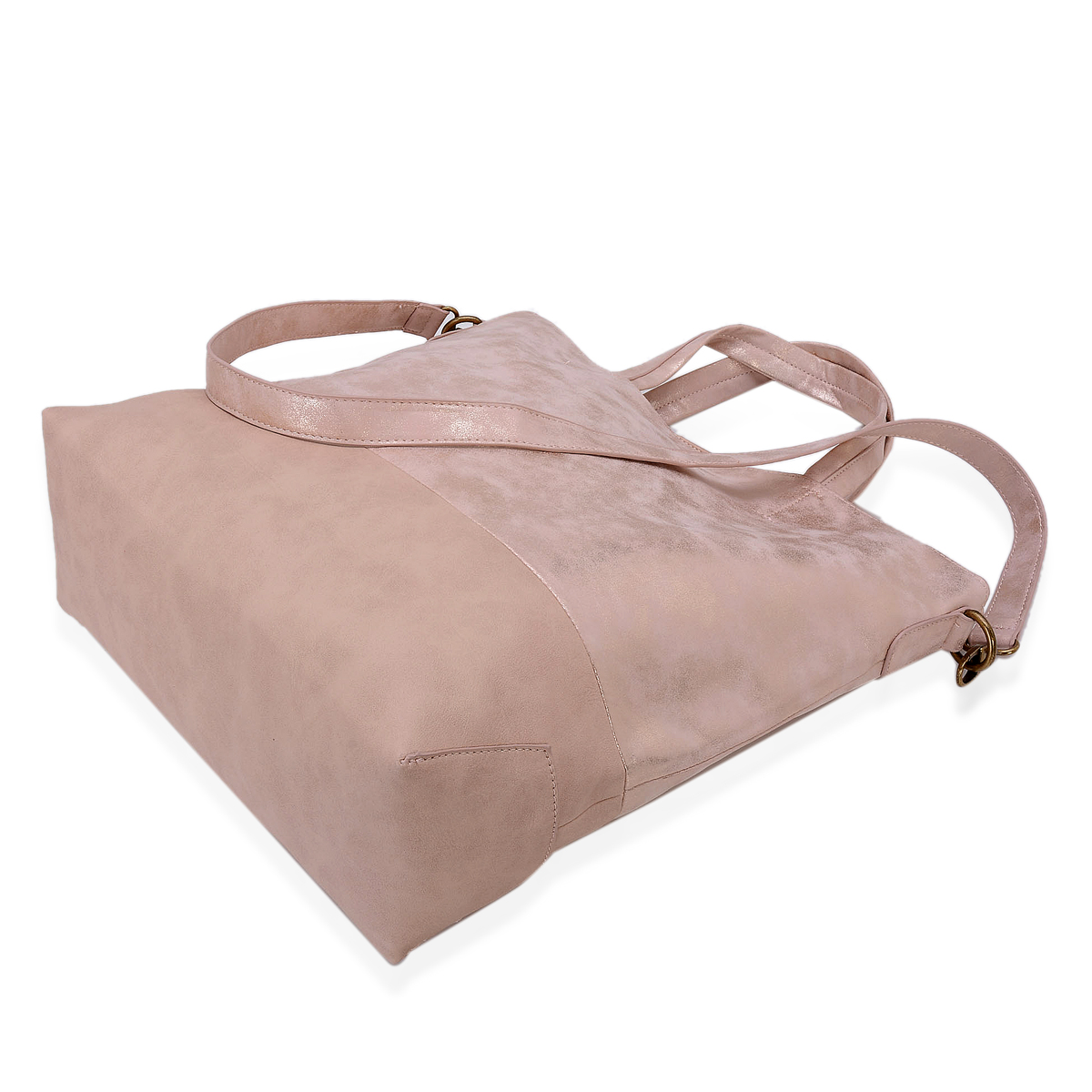 J Francis - Dusty Rose Faux Leather Tote Bag (13x5x15 in)