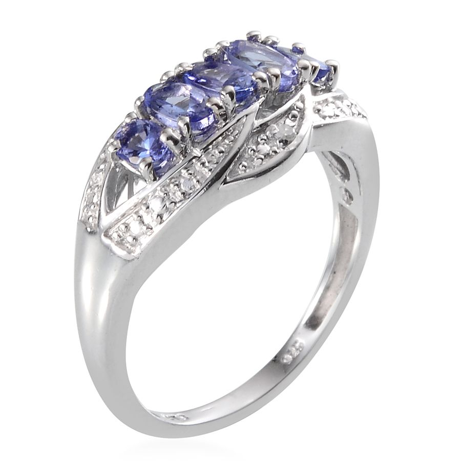 Tanzanite (Ovl), Diamond Ring in Platinum Overlay Sterling Silver Nickel Free (Size 8) TDiaWt 0.010Cts., TGW 1.30 Cts.
