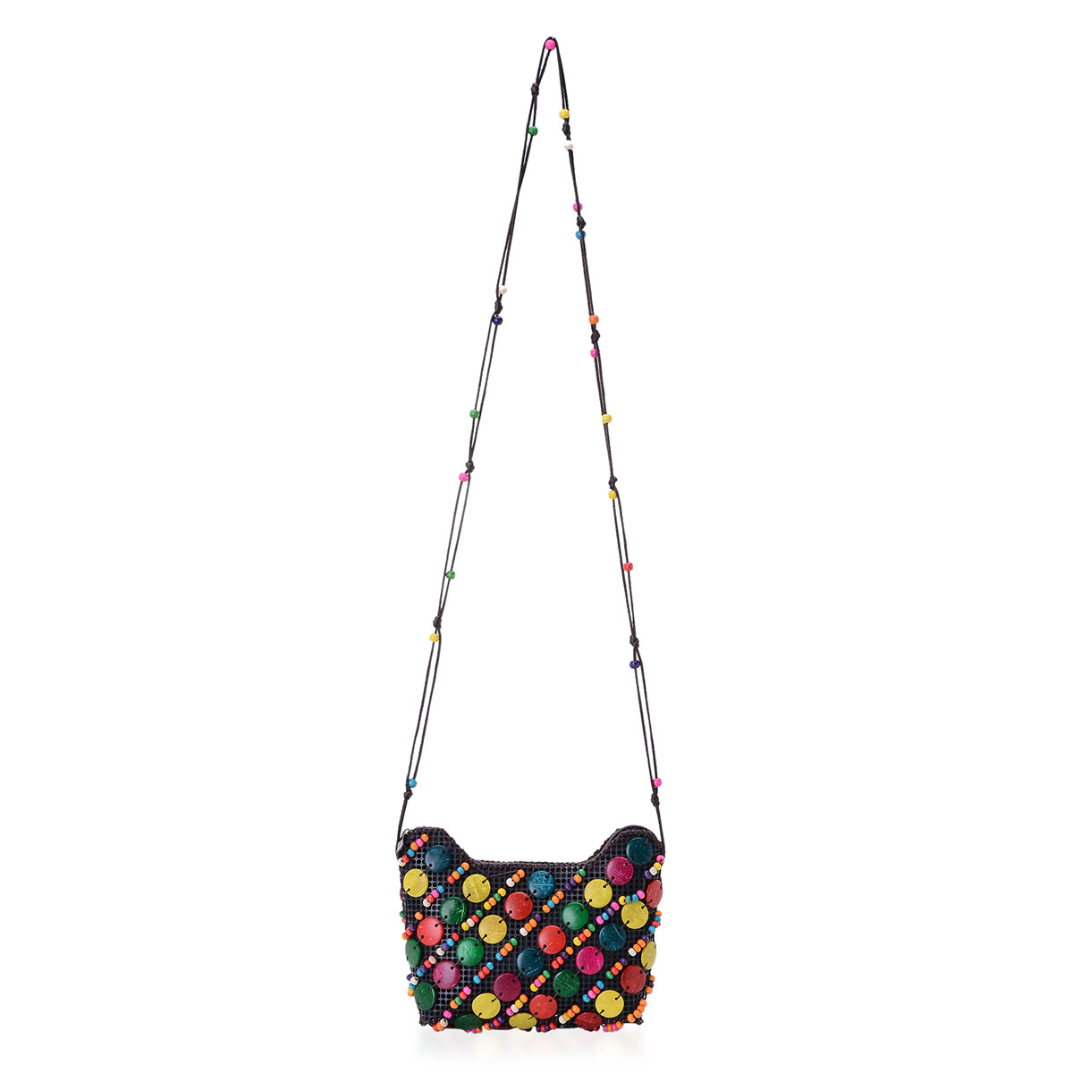 Multi Color Coconut Shell Crossbody Bag (7x5 in)