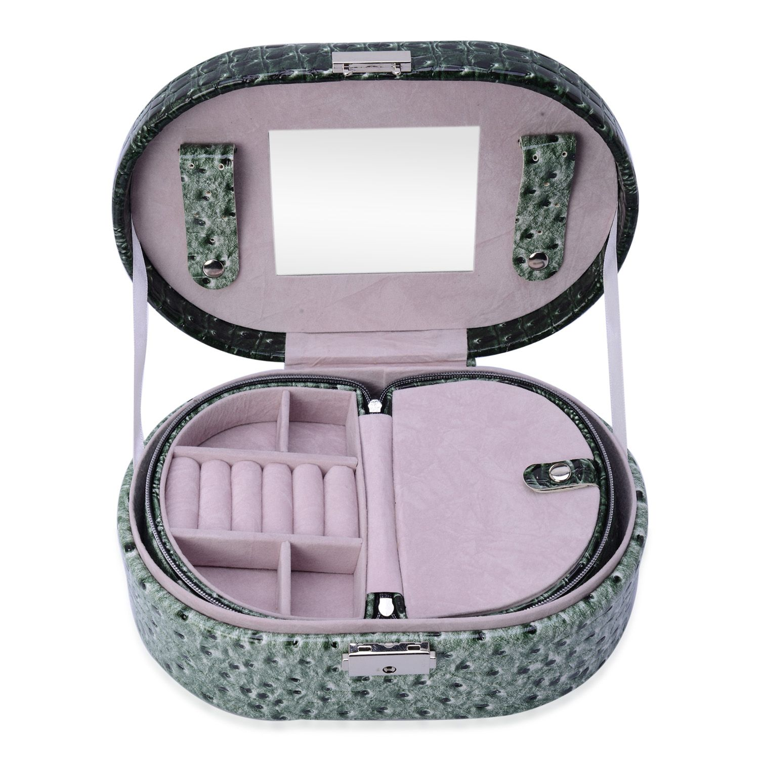 Green Faux Leather Jewelry Box (9x6 in)