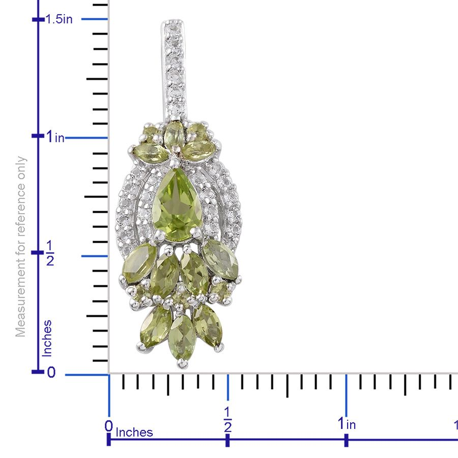 Hebei Peridot, White Topaz Platinum Over Sterling Silver Earrings TGW 6.04 cts.