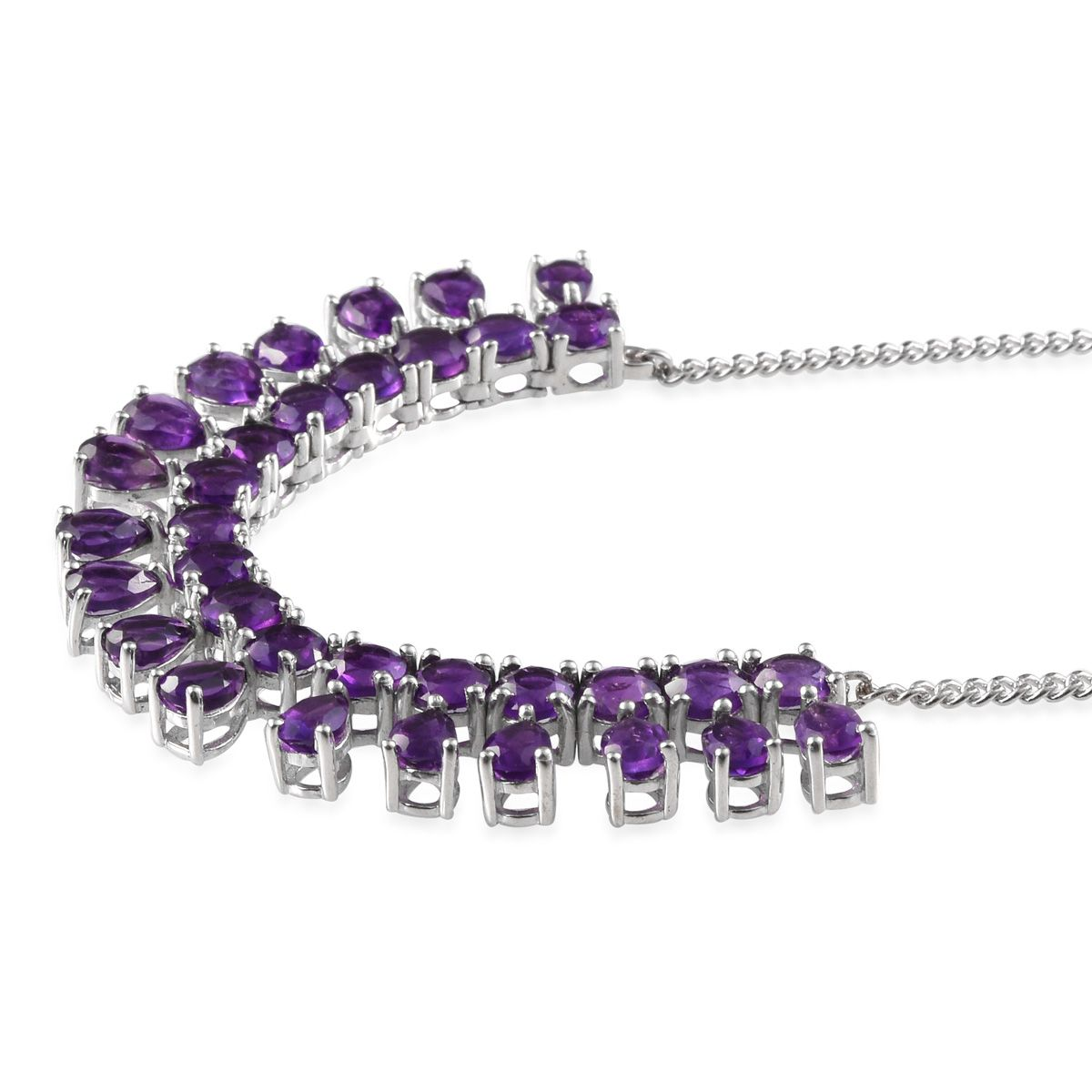 Lusaka Amethyst (Pear) Necklace (18 in) in Platinum Overlay Sterling Silver Nickel Free TGW 14.28 Cts.