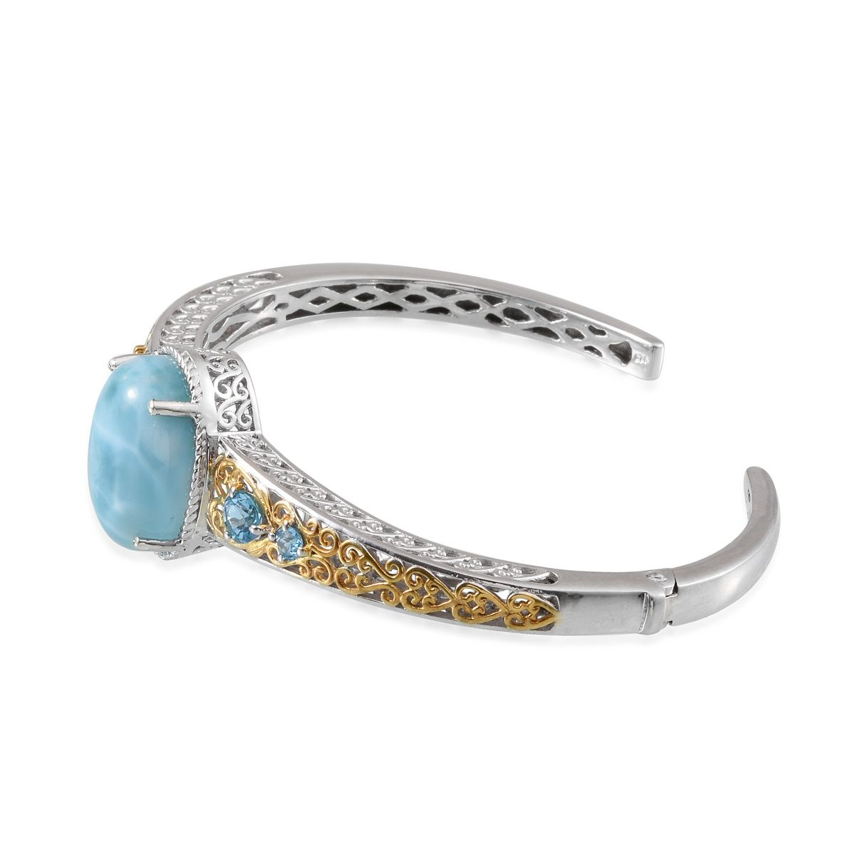 Larimar, Electric Blue Topaz 14K YG and Platinum Over Sterling Silver Openwork Cuff TGW 21.76 Cts.