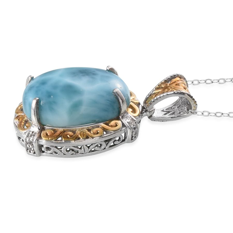 Larimar, White Topaz 14K YG and Platinum Over Sterling Silver Pendant With Chain (20 in) TGW 18.70 Cts.
