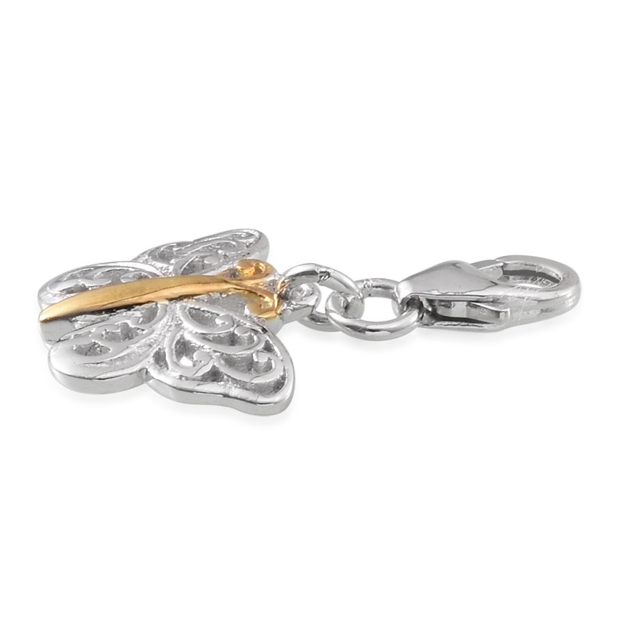 Hidden Treasures Butterfly Charm 14K YG and Platinum Over Sterling Silver Butterfly Charm