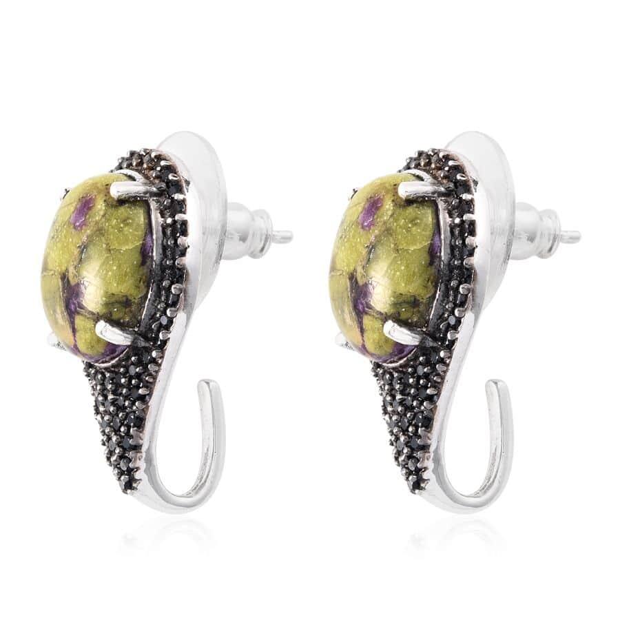 Tasmanian Stichtite, Thai Black Spinel Platinum Over Sterling Silver J-Hoop Earrings TGW 8.550 cts.