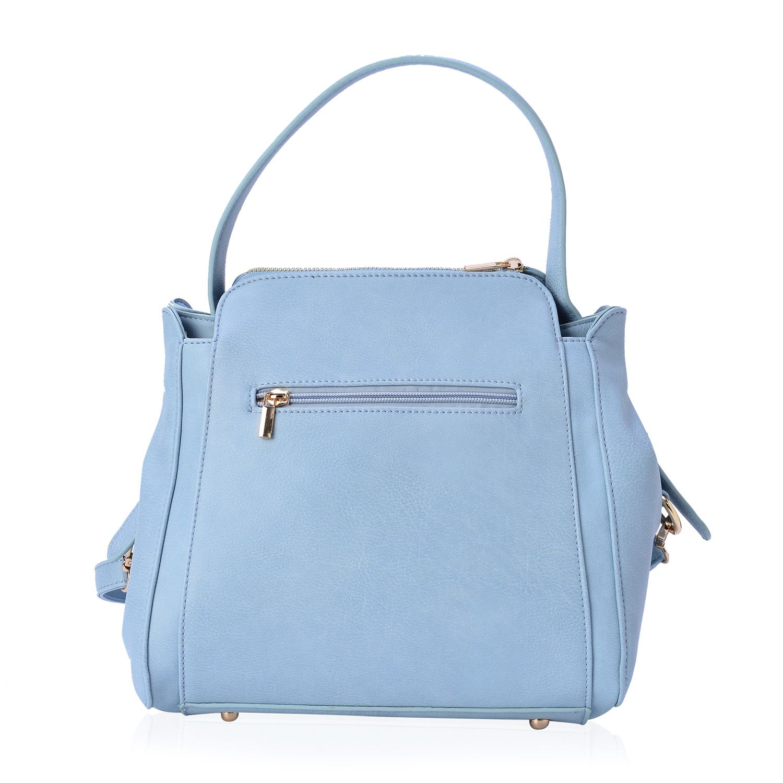 Sky Blue Vegan Leather Zipper Shoulder Bag with Tassels (12x5x11 in)