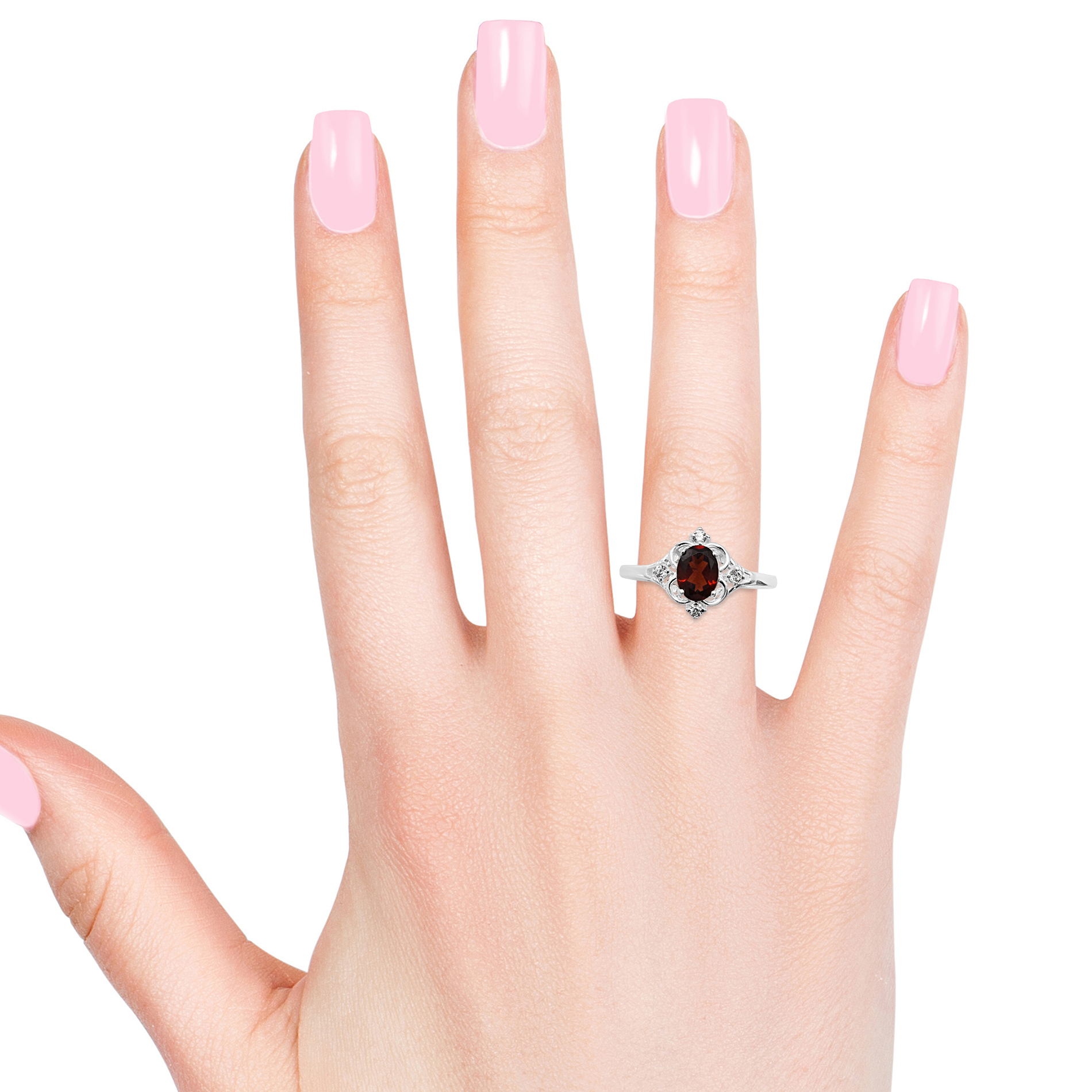 Mozambique Garnet, White CZ Sterling Silver Ring (Size 7.0) 1.63 ctw