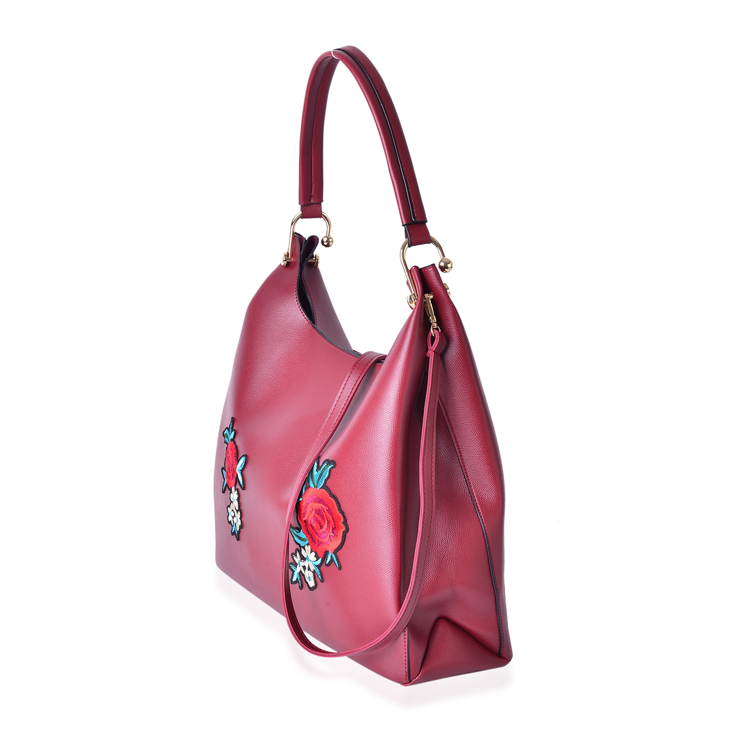 b36d631caa0 ... Maroon Faux Leather Eye-Catching Floral Embroidery Tote Bag (15x5x12  in) with Matching ...